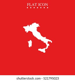 Italy map vector icon isolated on red. Italian silhouette illustration.