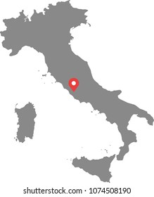 Italy map vector outline illustration with capital location, Rome, in gray background. Highly detailed accurate map of Italy prepared by a map expert.