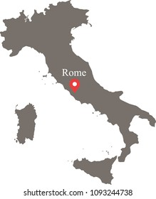 Italy map vector outline illustration with capital location, Rome, in gray background. The borders of provinces or states are not included on this map for aesthetic appeal.