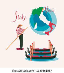 Italy map. Venice. Gondolas and gondolier. Set. Invitation to travel in Italy. Italian male profession. Design elements for tourist poster. Image isolated on white background.