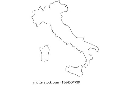 Italy map of white color