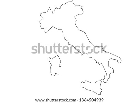 Map Of Italy To Color.Italy Map White Color Stock Vector Royalty Free 1364504939
