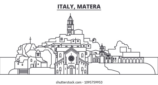 Italy, Matera line skyline vector illustration. Italy, Matera linear cityscape with famous landmarks, city sights, vector landscape.