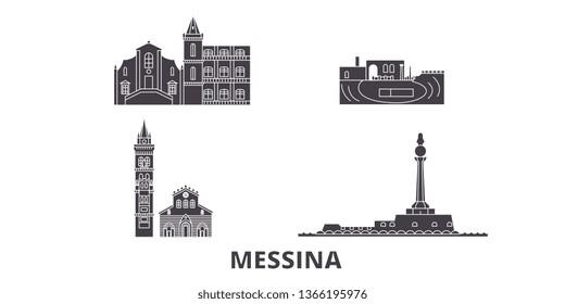 Italy, Messina flat travel skyline set. Italy, Messina black city vector illustration, symbol, travel sights, landmarks.