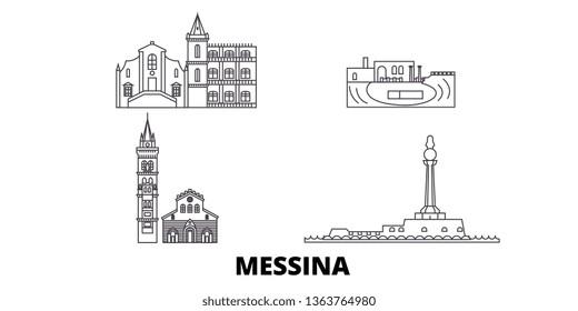 Italy, Messina line travel skyline set. Italy, Messina outline city vector illustration, symbol, travel sights, landmarks.
