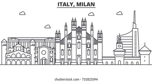 Italy, Milan architecture line skyline illustration. Linear vector cityscape with famous landmarks, city sights, design icons. Landscape wtih editable strokes