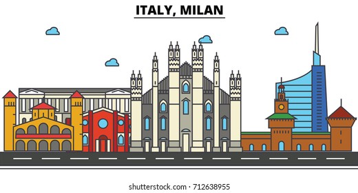 Italy, Milan. City skyline: architecture, buildings, streets, silhouette, landscape, panorama, landmarks. Editable strokes. Flat design line vector illustration concept. Isolated icons set