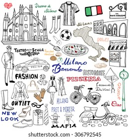 Italy, Milan Hand drawn set. Sketch elements with Duomo cathedral, flag, map, shoe, fashion items, pizza, shopping street, transport and traditional food. Drawing doodle collection, isolated on white