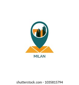 Italy Milan map city pin point geolocation modern skyline shape pointer vector flat logo web icon illustration