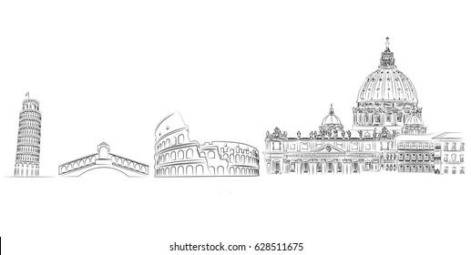 Italy minimal vector illustration postcard with silhouette of landmark monuments