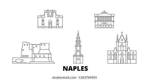 Italy, Naples line travel skyline set. Italy, Naples outline city vector illustration, symbol, travel sights, landmarks.