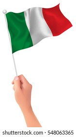 Italy national flag hand icon