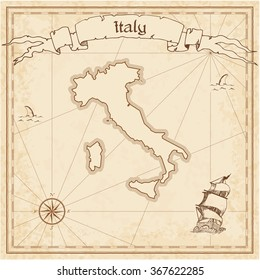 Italy old treasure map. Sepia engraved template of Italy treasure map. Stylized Italy treasure map on vintage torn paper.