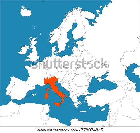 Italy On Europe Map Vector Illustration Stock Vector Royalty Free