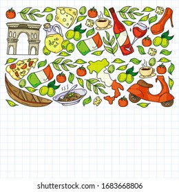 Italy. Order italian cuisine delivery, food online. Vector set of icons for restaurant, cafe, backgrounds. Coliseum, Rome, Pisa, Venice. Cheese and Pizza.