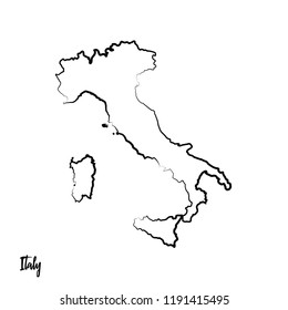 Italy outline contour black map