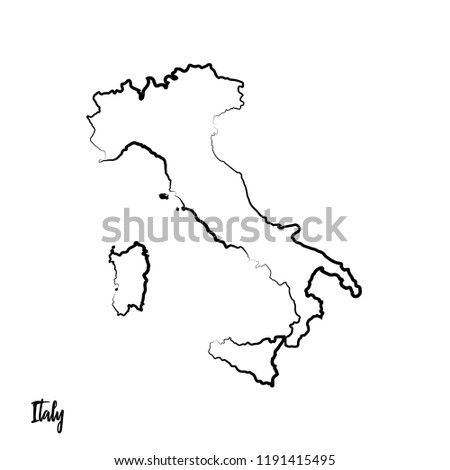 Map Of Italy Outline.Italy Outline Contour Black Map Stock Vector Royalty Free