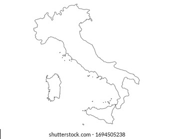 Italy outline map vector illustration isolated on white