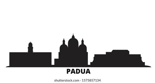 Italy, Padua city skyline isolated vector illustration. Italy, Padua travel black cityscape