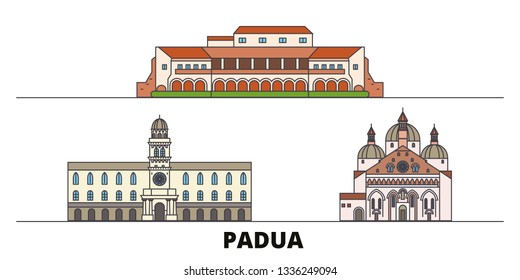 Italy, Padua flat landmarks vector illustration. Italy, Padua line city with famous travel sights, design skyline.