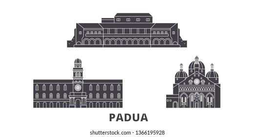 Italy, Padua flat travel skyline set. Italy, Padua black city vector illustration, symbol, travel sights, landmarks.