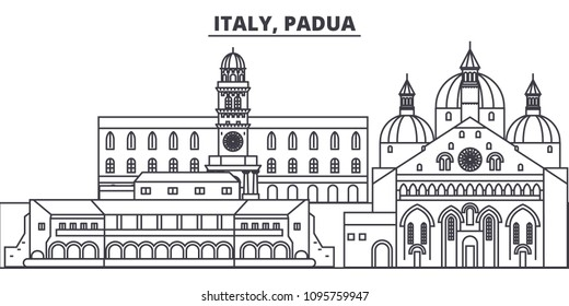 Italy, Padua line skyline vector illustration. Italy, Padua linear cityscape with famous landmarks, city sights, vector landscape.