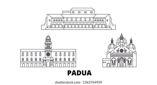Italy, Padua line travel skyline set. Italy, Padua outline city vector illustration, symbol, travel sights, landmarks.