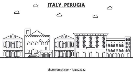 Italy, Perugia architecture line skyline illustration. Linear vector cityscape with famous landmarks, city sights, design icons. Landscape wtih editable strokes