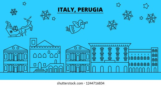 Italy, Perugia winter holidays skyline. Merry Christmas, Happy New Year decorated banner with Santa Claus.Italy, Perugia linear christmas city vector flat illustration