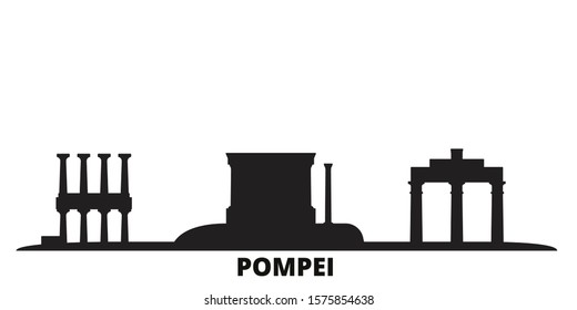 Italy, Pompei city skyline isolated vector illustration. Italy, Pompei travel black cityscape