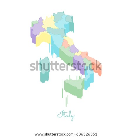 Italy Region Map.Italy Region Map Colorful Isometric Top Stock Vector Royalty Free