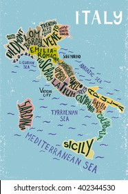 Italy regions map - unique decorative map with hand drawn lettering design.