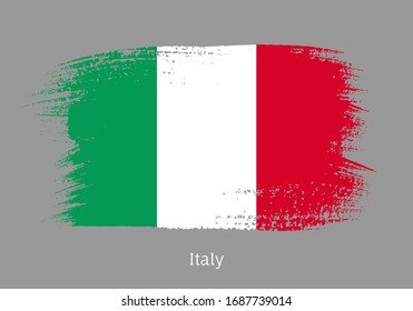Italy republic official flag in shape of paintbrush stroke. Italian national identity symbol. Grunge brush blot isolated on grey background vector illustration. Italy country patriotic stamp.