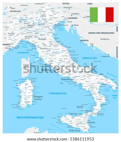 Road Map Of France And Italy.Italy Road Map White Color Highly Stock Vector Royalty Free