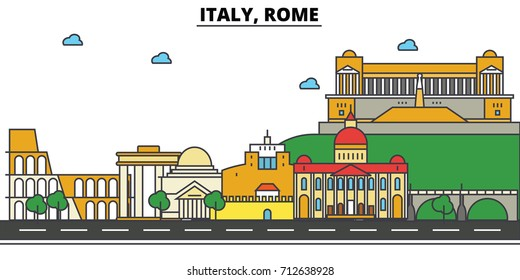 Italy, Rome. City skyline: architecture, buildings, streets, silhouette, landscape, panorama, landmarks. Editable strokes. Flat design line vector illustration concept. Isolated icons set