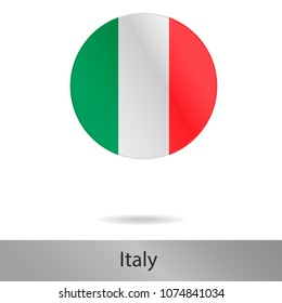 The Italy round icon with shadow