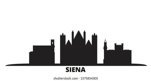 Italy, Siena city skyline isolated vector illustration. Italy, Siena travel black cityscape