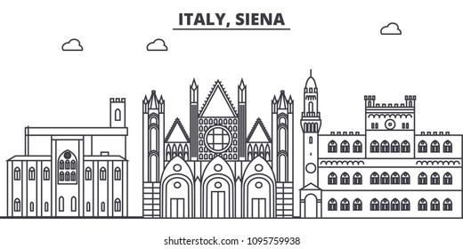 Italy, Siena line skyline vector illustration. Italy, Siena linear cityscape with famous landmarks, city sights, vector landscape.