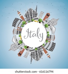 Italy Skyline with Landmarks and Copy Space. Vector Illustration. Business Travel and Tourism Concept with Historic Architecture. Image for Presentation Banner Placard and Web Site.
