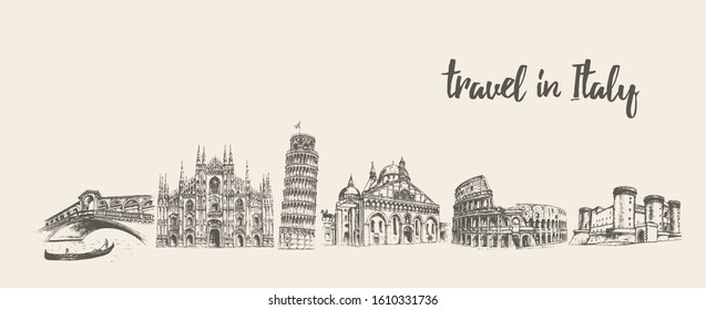 Italy skyline with its main attractions. Rome, Venice, Pisa, Milan, Naples. Conceptual artwork. Hand drawn vector illustration, sketch