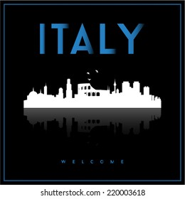 Italy, skyline silhouette vector design on parliament blue and black background.
