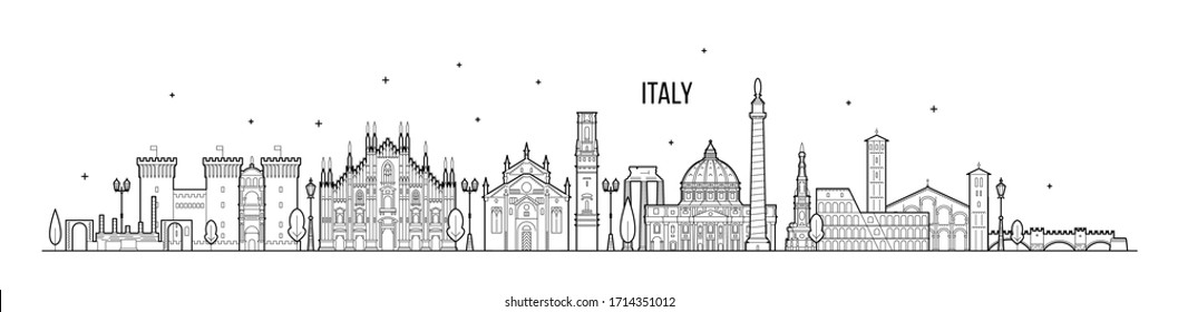Italy skyline. This illustration represents the country with its most notable buildings. Vector is fully editable, every object is holistic and movable