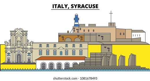 Italy, Syracuse. City skyline, architecture, buildings, streets, silhouette, landscape, panorama, landmarks. Editable strokes. Flat design line vector illustration concept. Isolated icons