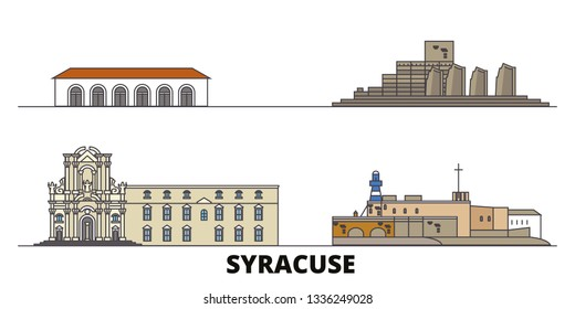 Italy, Syracuse flat landmarks vector illustration. Italy, Syracuse line city with famous travel sights, design skyline.