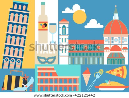 Italy Tourist Attraction Concept Vector Illustration Stock Vector