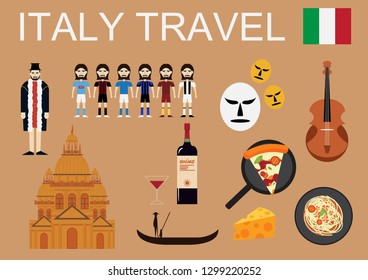 Italy travel with culture on brown background.