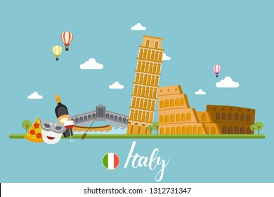 Italy travel landscapes vector illustration