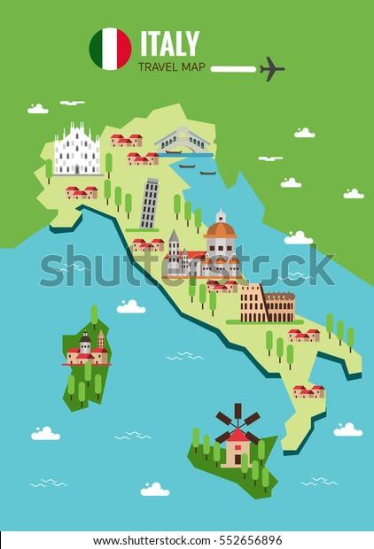 Italy Travel Map Italian Colosseum Milan Arkistovektori