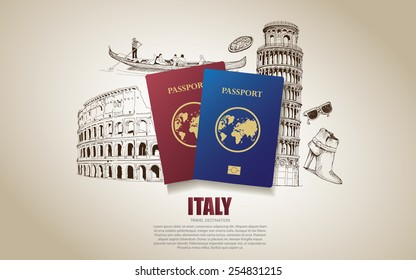 Italy travel poster. Hand drawn Italy. vector illustration.
