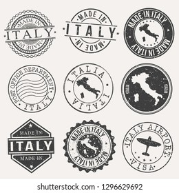 Italy Travel Stamp Made In Product Stamp Logo Icon Symbol Design Insignia.
